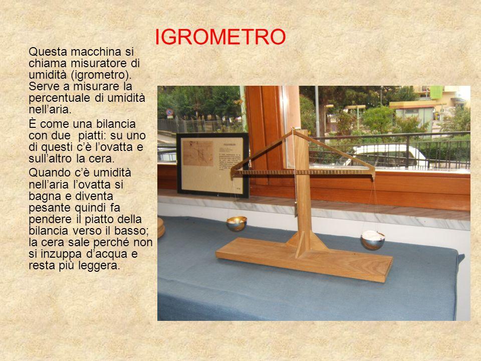 IGROMETRO Questa macchina si chiama misuratore di umidità (igrometro). Serve a misurare la percentuale di umidità nell'aria.