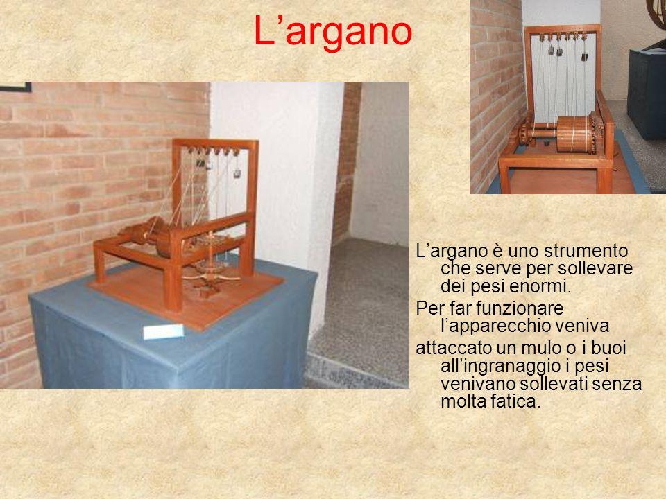 L'argano L'argano è uno strumento che serve per sollevare dei pesi enormi. Per far funzionare l'apparecchio veniva.