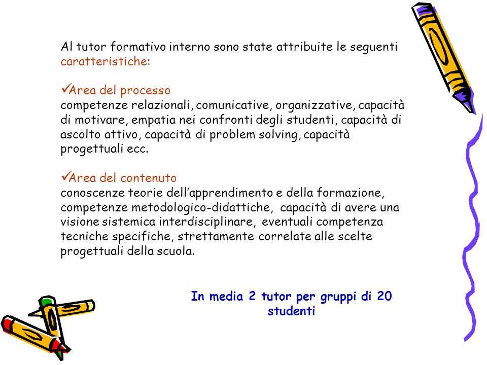In media 2 tutor per gruppi di 20 studenti