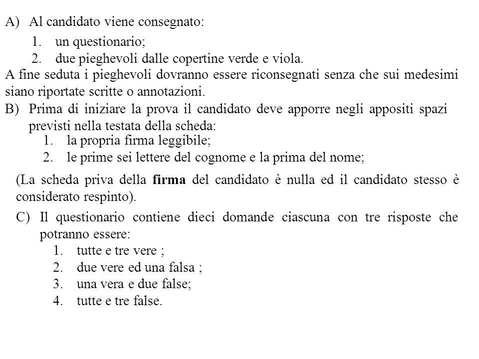 Al candidato viene consegnato: