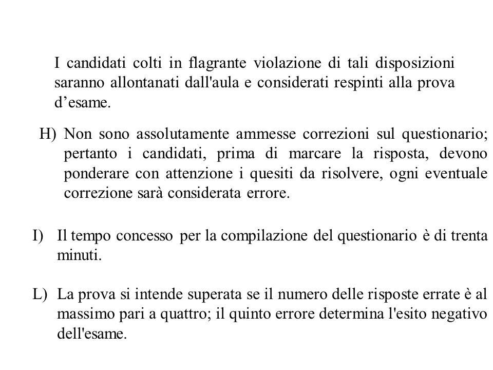 I candidati colti in flagrante violazione di tali disposizioni saranno allontanati dall aula e considerati respinti alla prova d'esame.