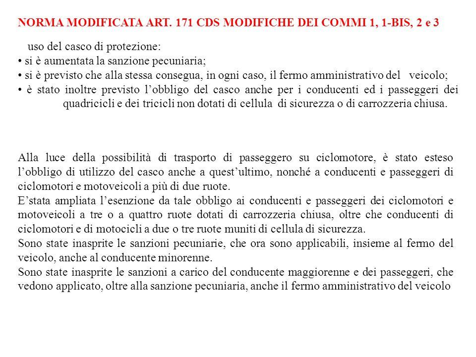 NORMA MODIFICATA ART. 171 CDS MODIFICHE DEI COMMI 1, 1-BIS, 2 e 3