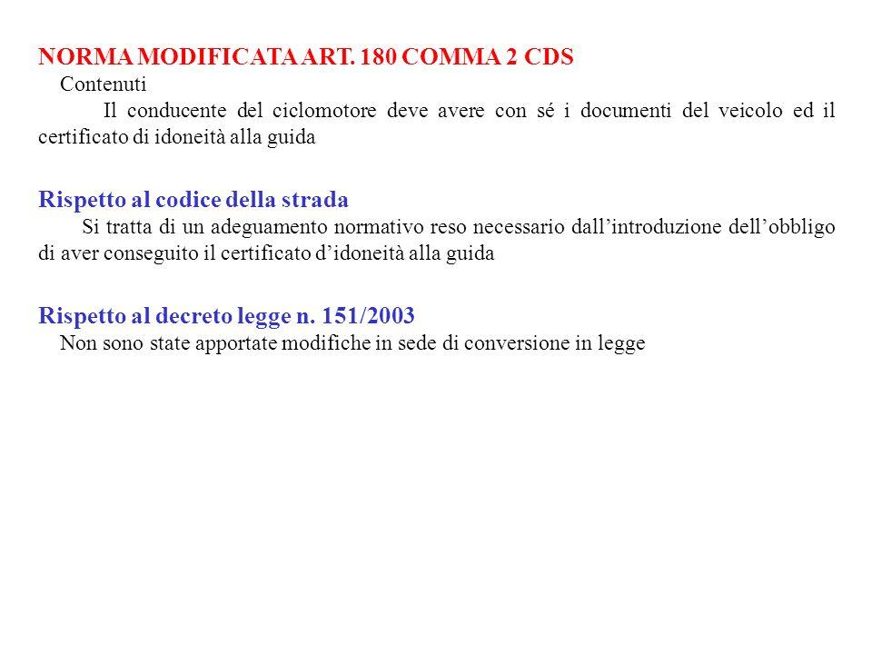 NORMA MODIFICATA ART. 180 COMMA 2 CDS