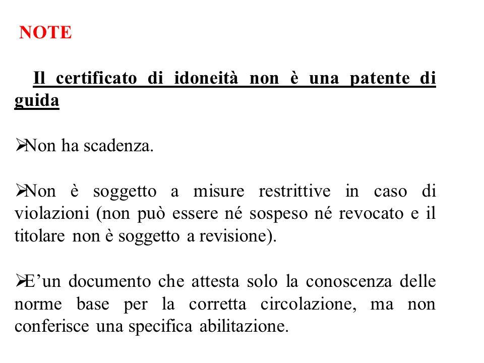 NOTE Il certificato di idoneità non è una patente di guida. Non ha scadenza.