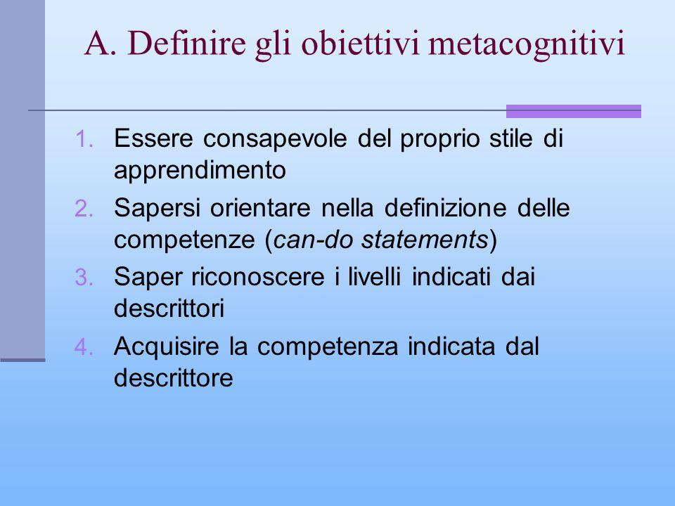 A. Definire gli obiettivi metacognitivi