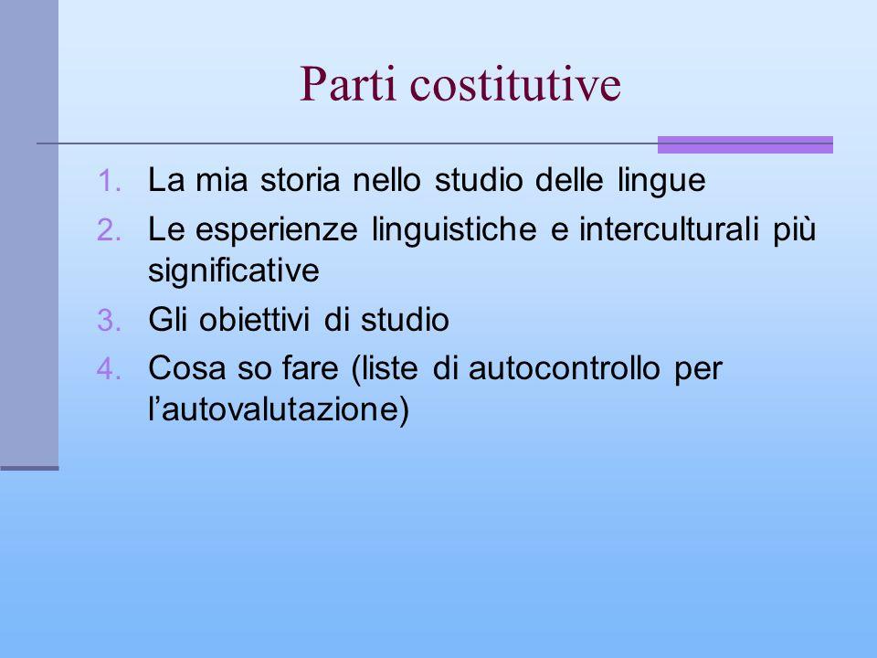 Parti costitutive La mia storia nello studio delle lingue