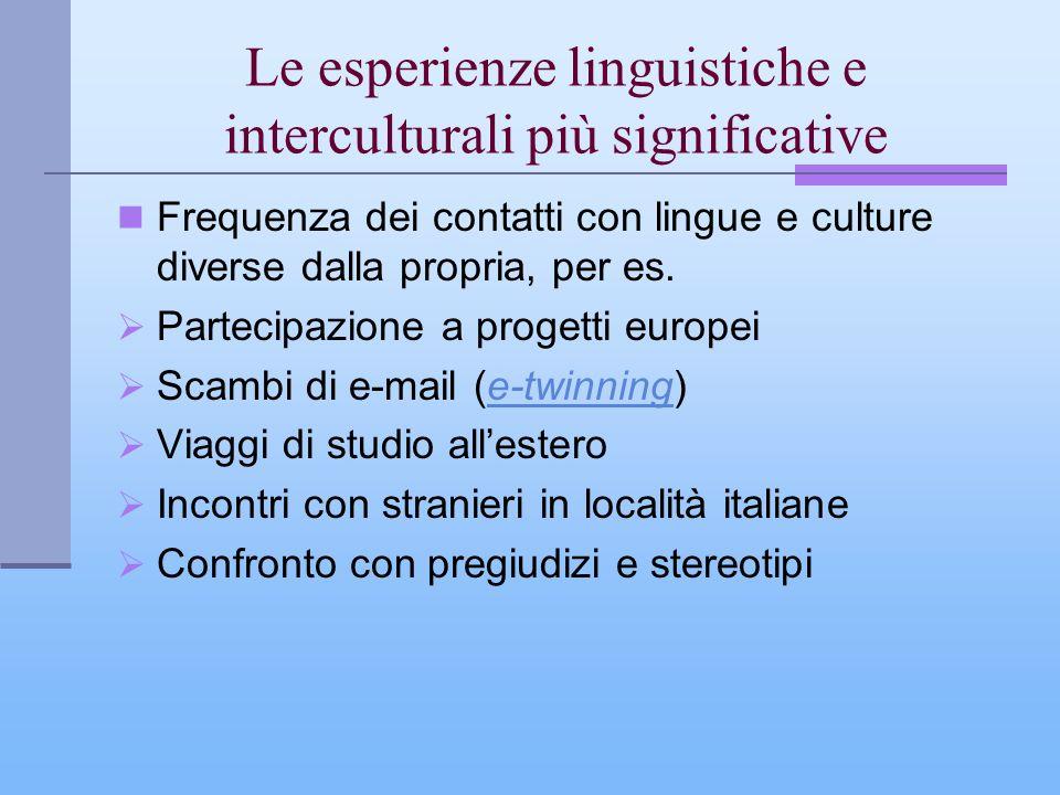Le esperienze linguistiche e interculturali più significative