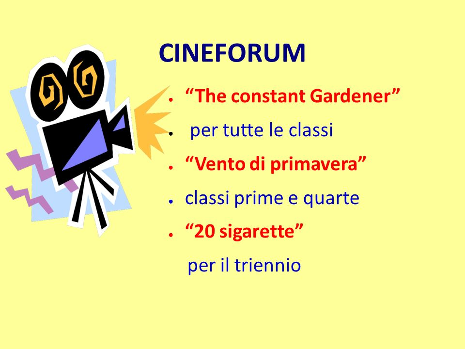 CINEFORUM The constant Gardener per tutte le classi