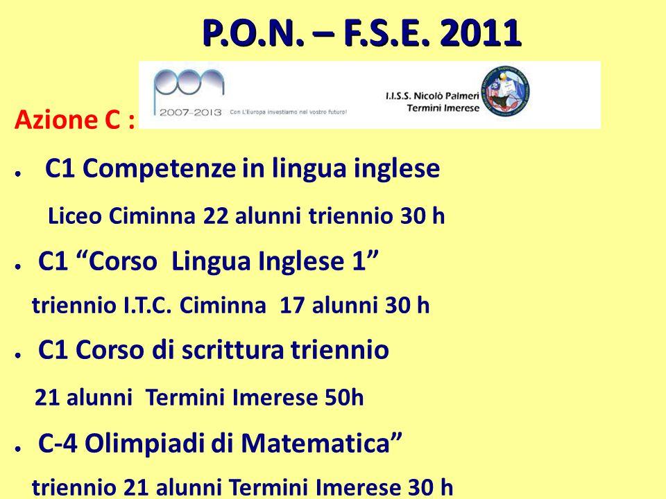 P.O.N. – F.S.E. 2011 Azione C : C1 Competenze in lingua inglese