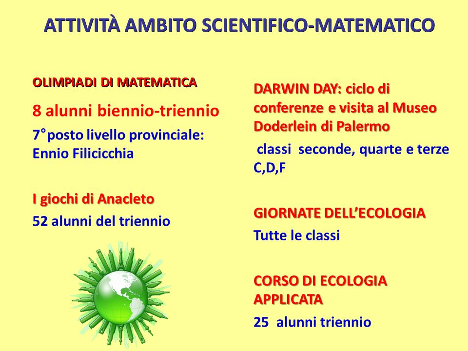 ATTIVITÀ AMBITO SCIENTIFICO-MATEMATICO