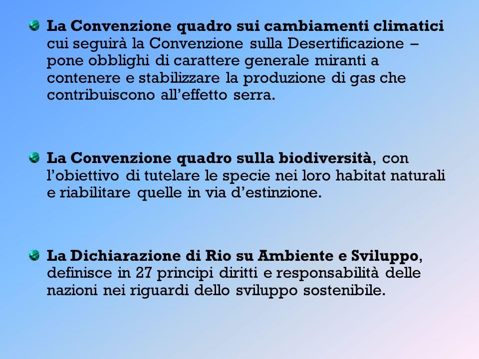 La Convenzione quadro sui cambiamenti climatici cui seguirà la Convenzione sulla Desertificazione – pone obblighi di carattere generale miranti a contenere e stabilizzare la produzione di gas che contribuiscono all'effetto serra.