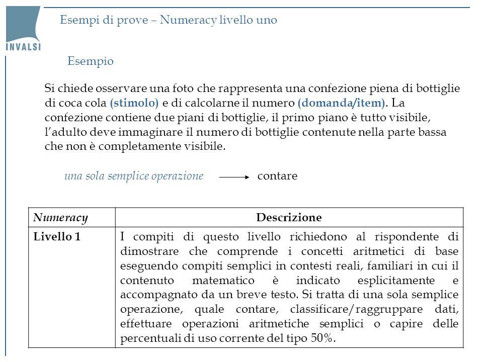 Esempi di prove – Numeracy livello uno
