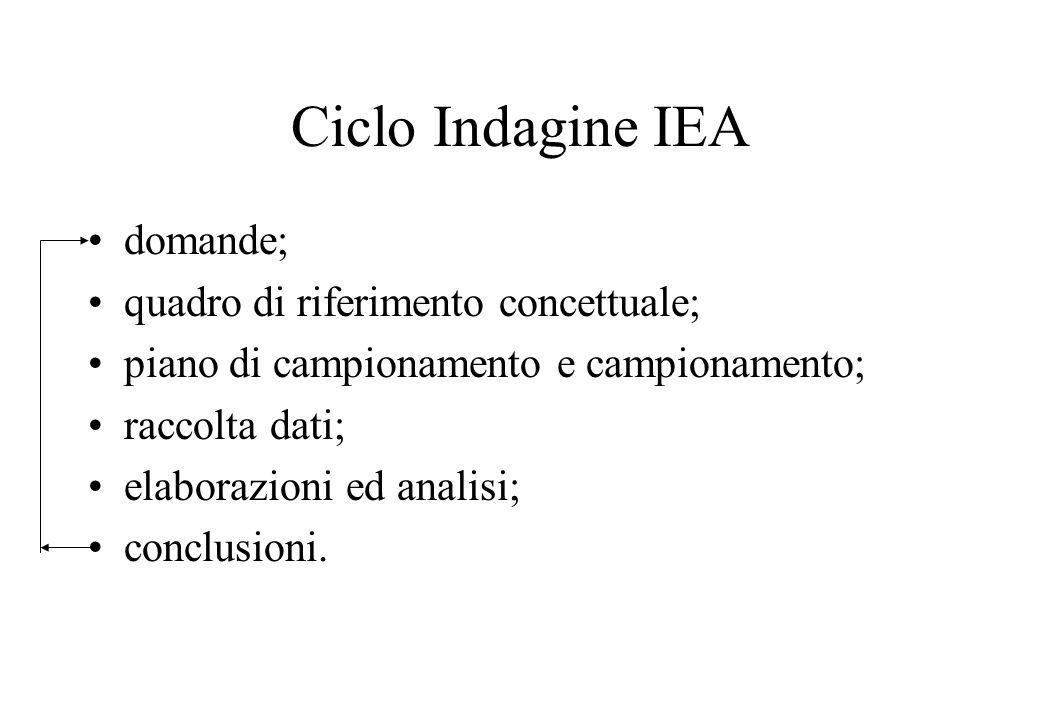 Ciclo Indagine IEA domande; quadro di riferimento concettuale;