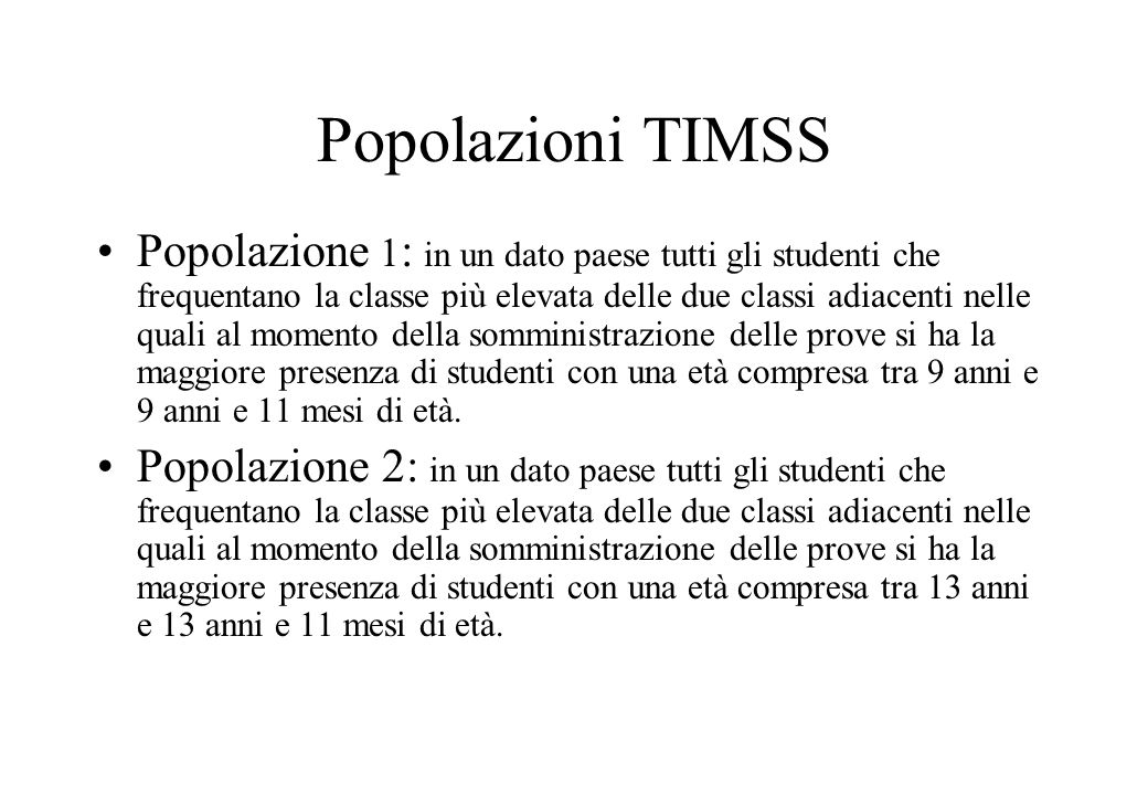 Popolazioni TIMSS