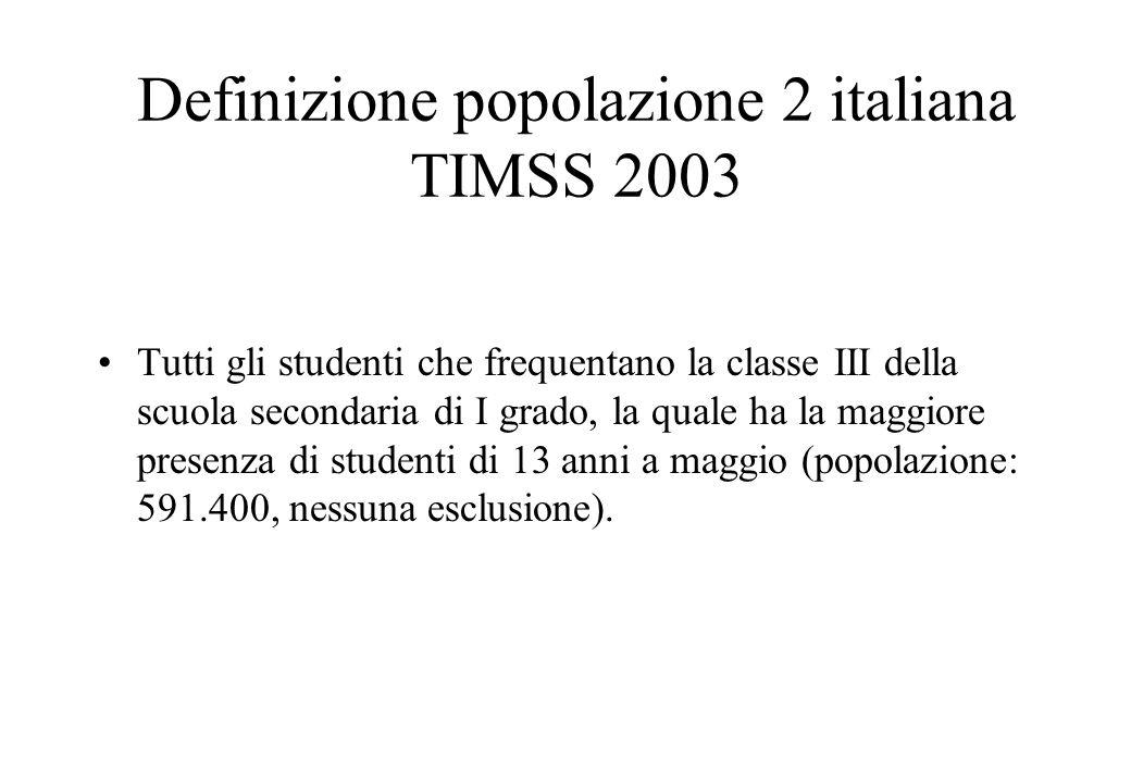 Definizione popolazione 2 italiana TIMSS 2003