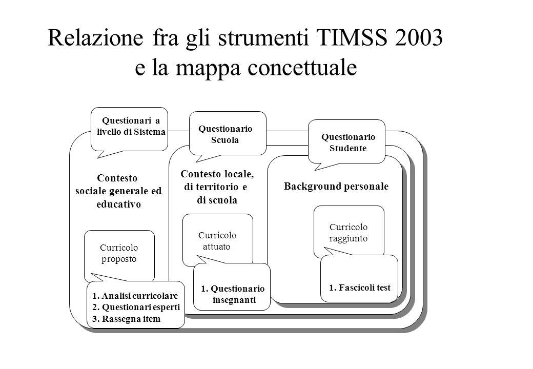 Relazione fra gli strumenti TIMSS 2003 e la mappa concettuale