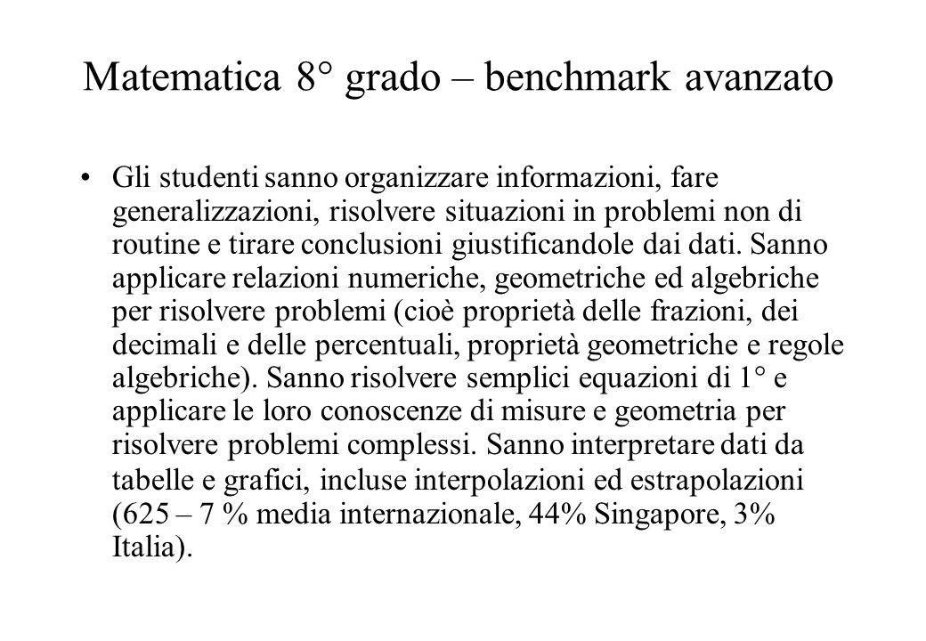 Matematica 8° grado – benchmark avanzato