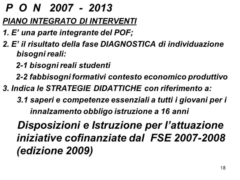 P O N 2007 - 2013 PIANO INTEGRATO DI INTERVENTI. 1. E' una parte integrante del POF;
