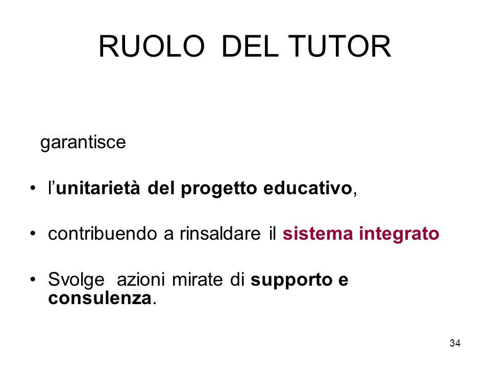 RUOLO DEL TUTOR garantisce l'unitarietà del progetto educativo,