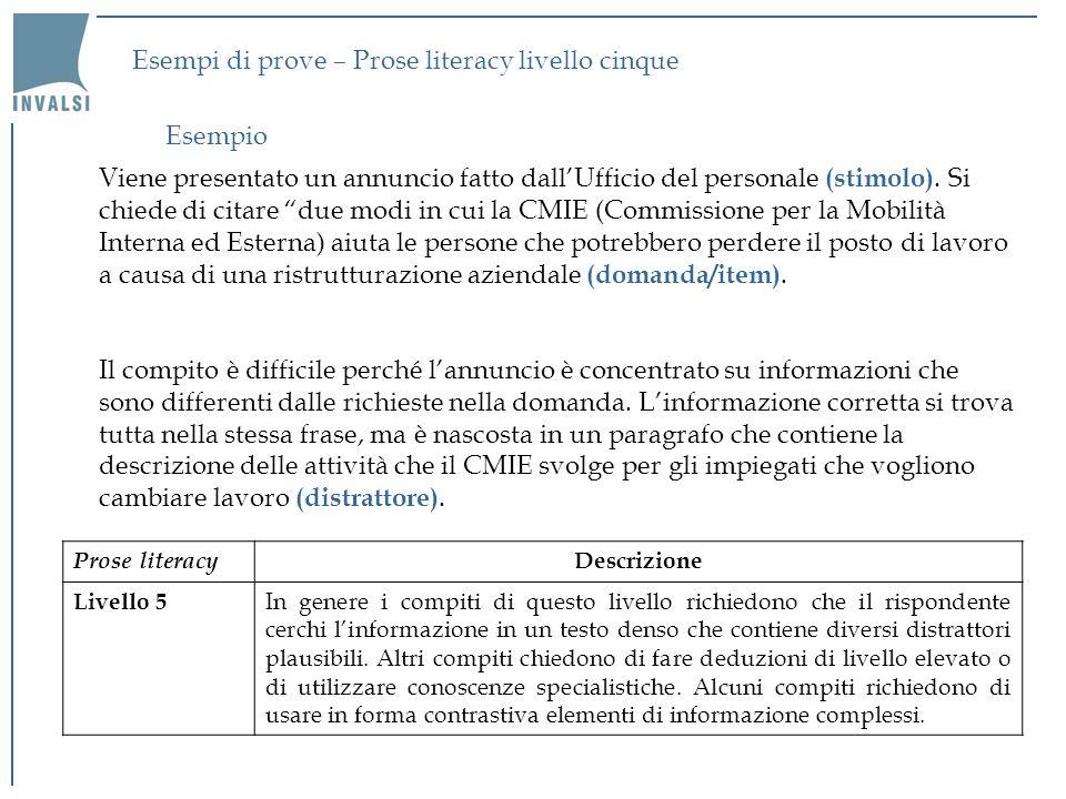 Esempi di prove – Prose literacy livello cinque