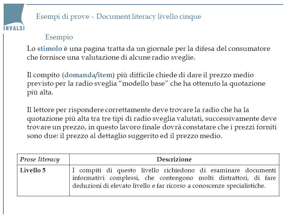 Esempi di prove – Document literacy livello cinque