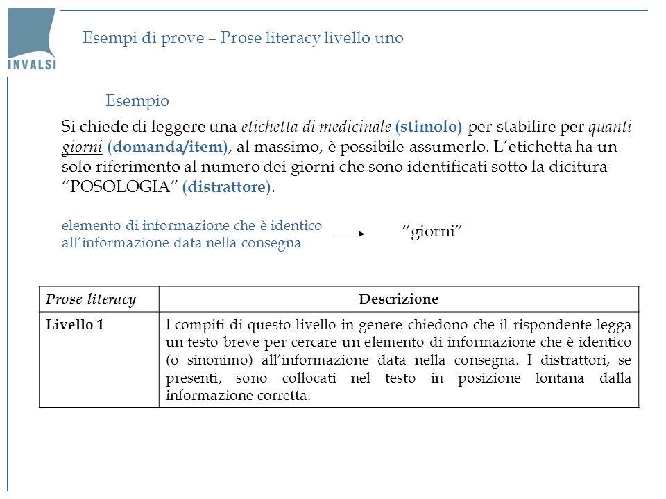 Esempi di prove – Prose literacy livello uno