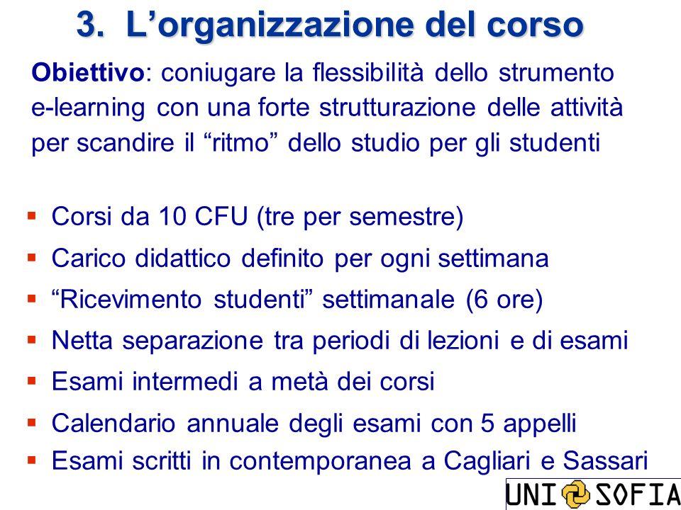 3. L'organizzazione del corso