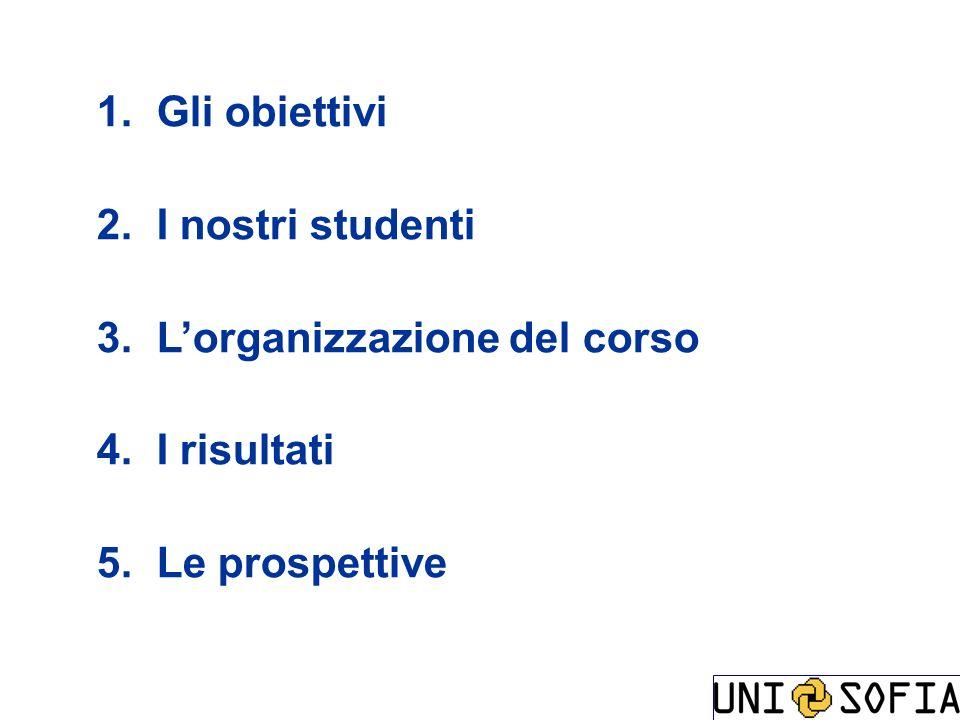 Gli obiettivi I nostri studenti L'organizzazione del corso I risultati Le prospettive
