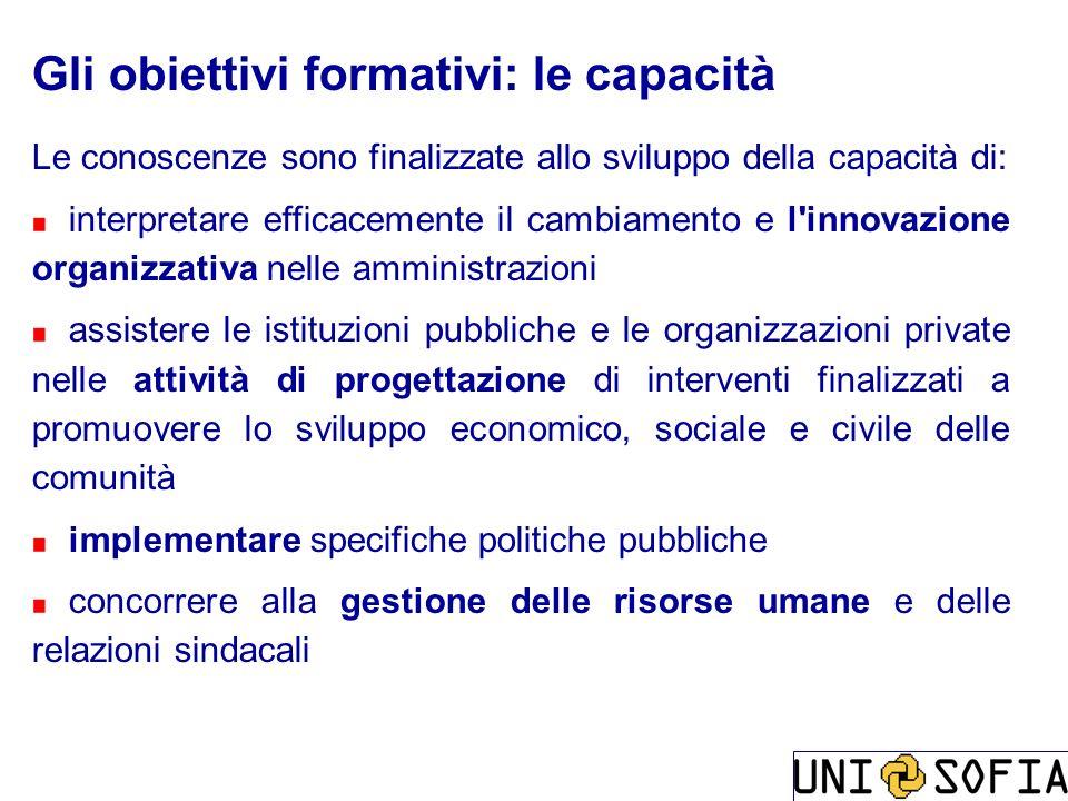 Gli obiettivi formativi: le capacità