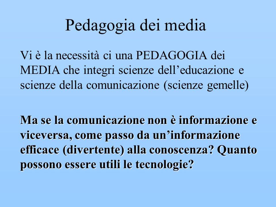 Pedagogia dei media Vi è la necessità ci una PEDAGOGIA dei MEDIA che integri scienze dell'educazione e scienze della comunicazione (scienze gemelle)