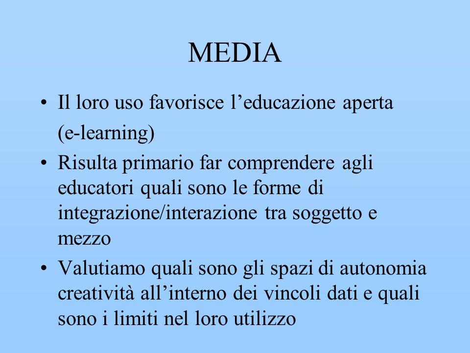 MEDIA Il loro uso favorisce l'educazione aperta (e-learning)