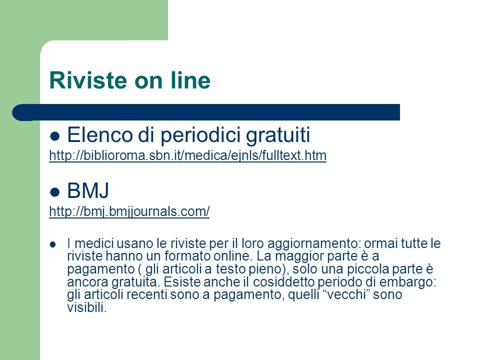 Riviste on line Elenco di periodici gratuiti BMJ