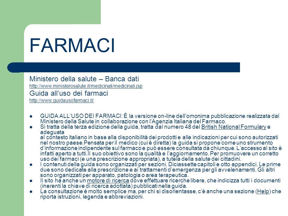 FARMACI Ministero della salute – Banca dati Guida all'uso dei farmaci