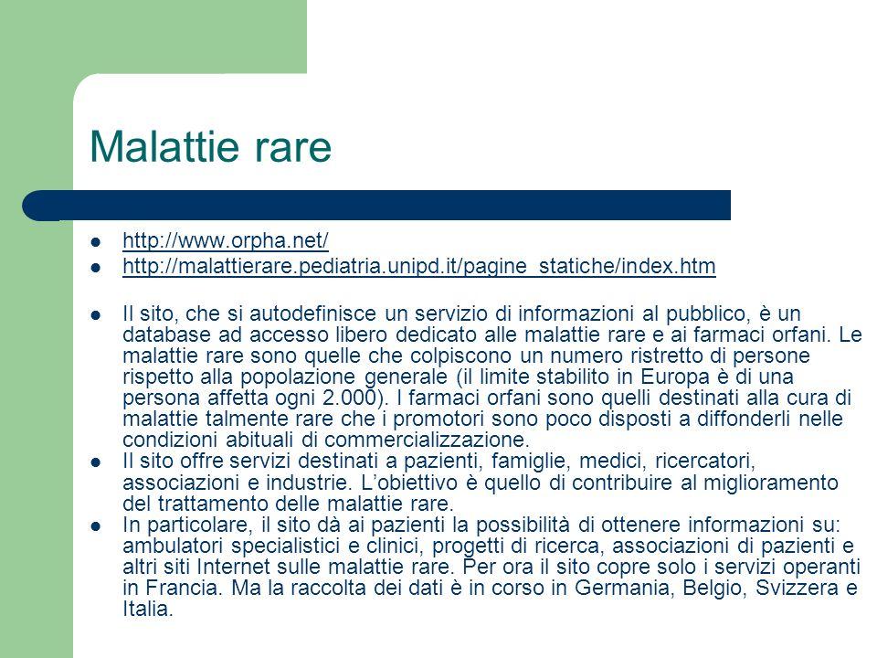 Malattie rare http://www.orpha.net/