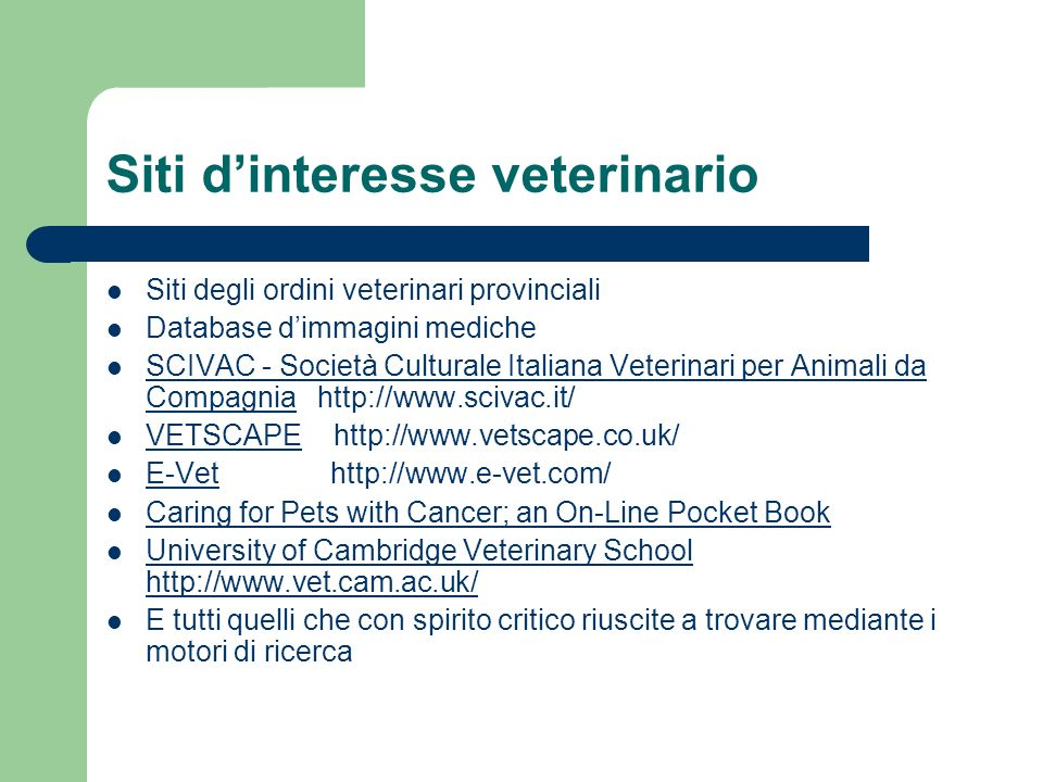 Siti d'interesse veterinario