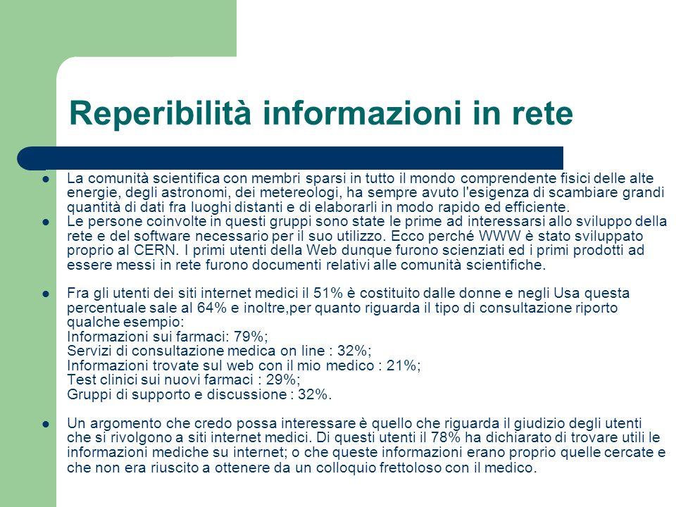 Reperibilità informazioni in rete