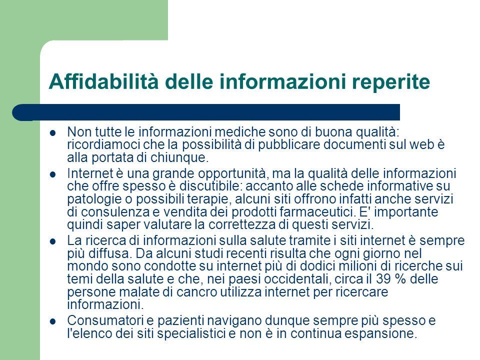 Affidabilità delle informazioni reperite