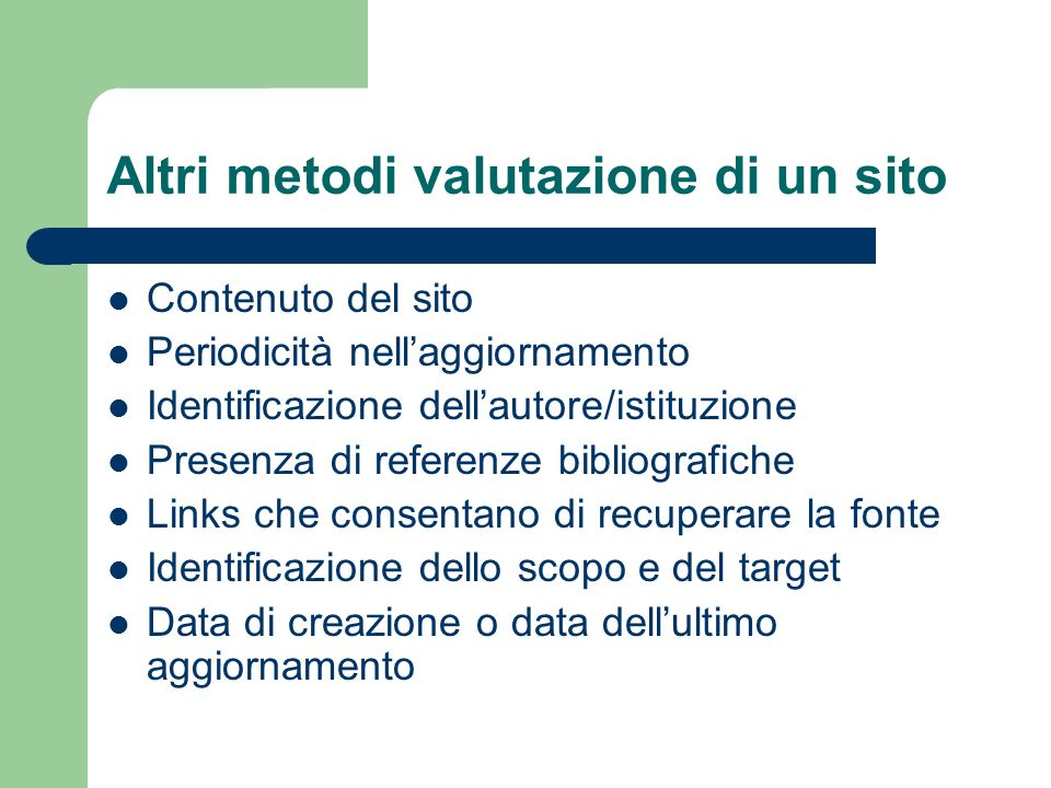 Altri metodi valutazione di un sito
