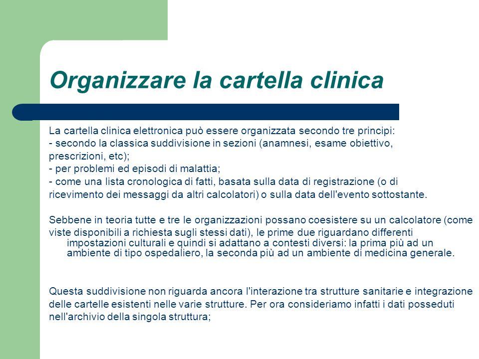 Organizzare la cartella clinica