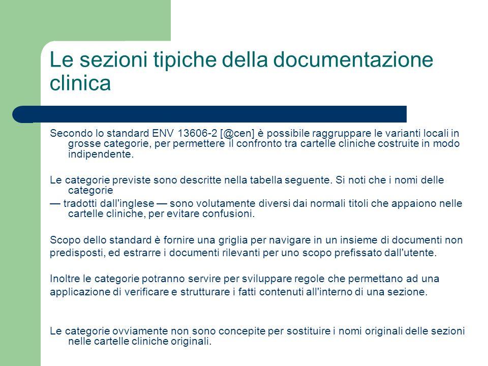 Le sezioni tipiche della documentazione clinica