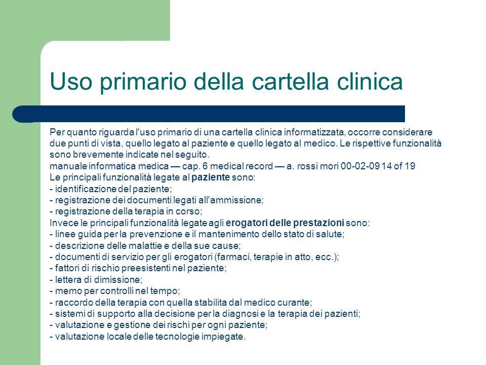 Uso primario della cartella clinica