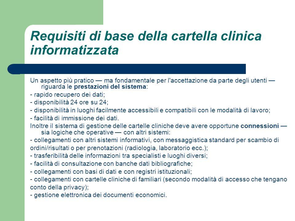 Requisiti di base della cartella clinica informatizzata