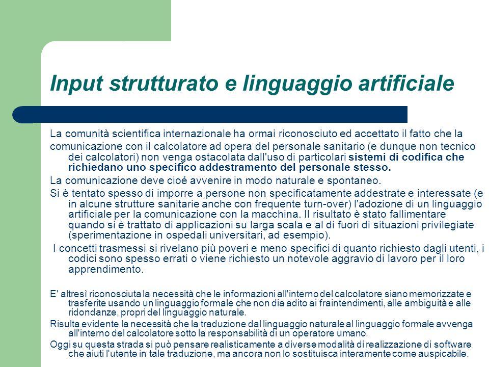 Input strutturato e linguaggio artificiale