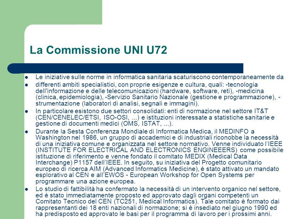 La Commissione UNI U72 Le iniziative sulle norme in informatica sanitaria scaturiscono contemporaneamente da.
