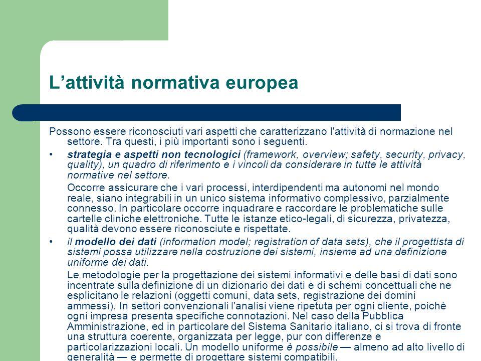 L'attività normativa europea