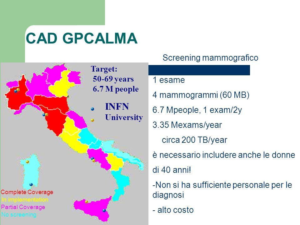 CAD GPCALMA INFN Screening mammografico Target: 50-69 years