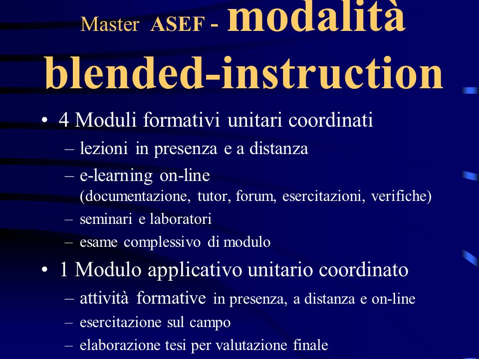 Master ASEF - modalità blended-instruction