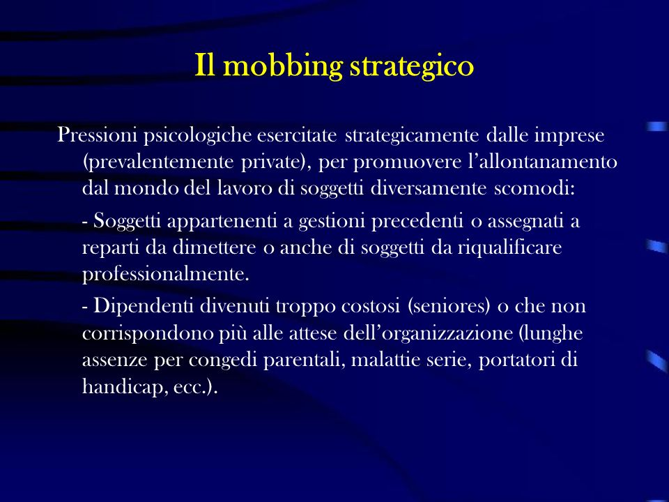 Il mobbing strategico