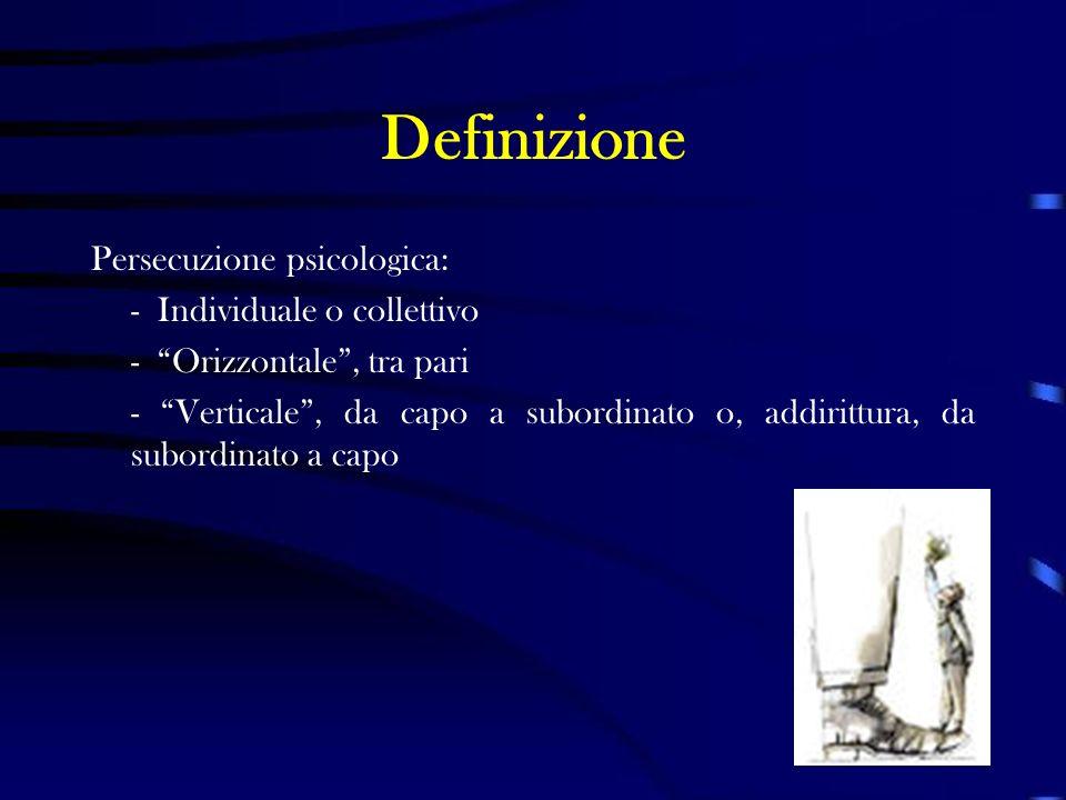 Definizione Persecuzione psicologica: - Individuale o collettivo