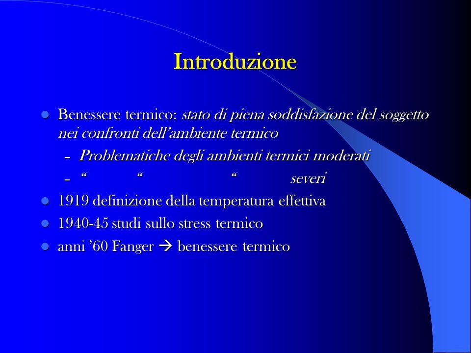 Introduzione Benessere termico: stato di piena soddisfazione del soggetto nei confronti dell'ambiente termico.